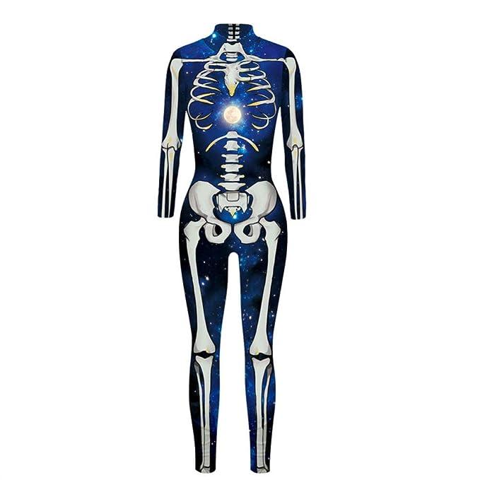 TUWEN Disfraces Chica Mujer Traje de Piel de Esqueleto ...