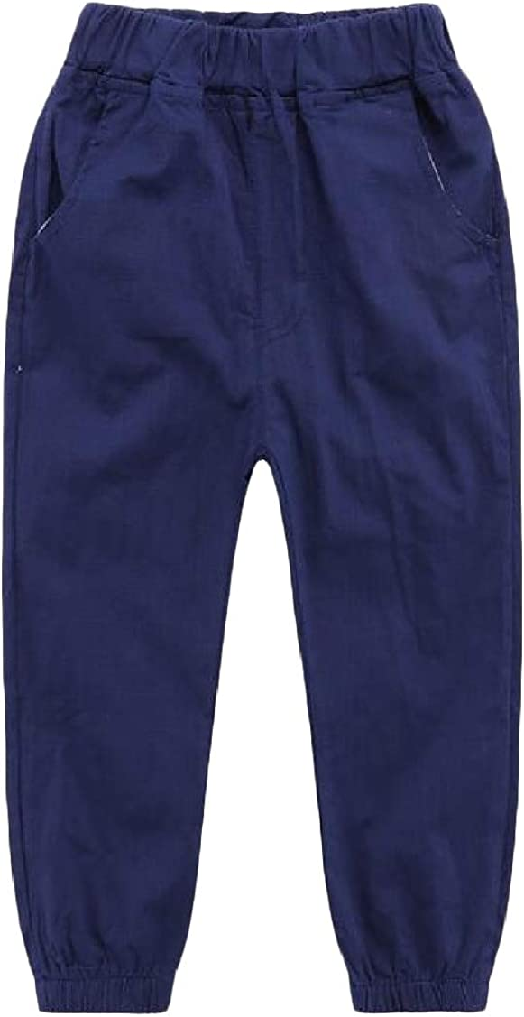 P/&E Boys Summer Elastic Waist Pure Color Jogging Casual Pants