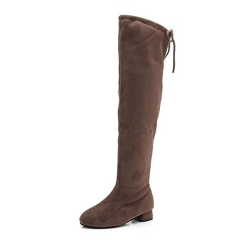 Botas de Nieve para niñas Zapatos de Invierno para niños Botas Ocasionales cómodas Botas largas con tacón bajo Sobre la Rodilla: Amazon.es: Zapatos y ...