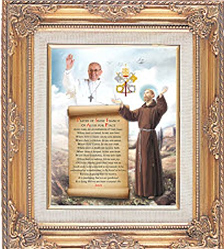 Gold Framed Art Pope Francis and Saint Francis Print Under Glass Imported
