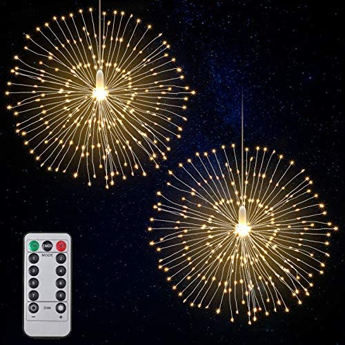 Firework Lights LED String Lights Fairy Decorative Twinkle Starburst Lights with Remote Control for Patio Party Indoor Home Decoration, 2 Pack Warm White