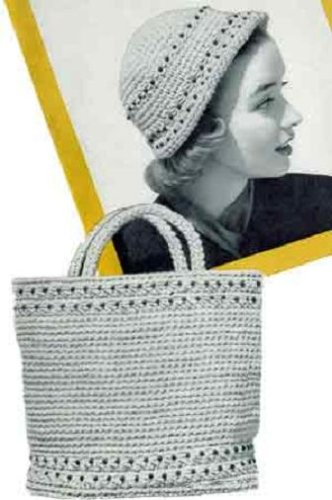 Beaded Cloche - CROCHETED BEADED TOTE BAG & MATCHING CLOCHE HAT - 2 Vintage 1950's Crochet Patterns (ePatterns) - Instant Download Ebook - AVAILABLE FOR DOWNLOAD to Kindle ... women, ladies, girls, yarn, crafts, diy)