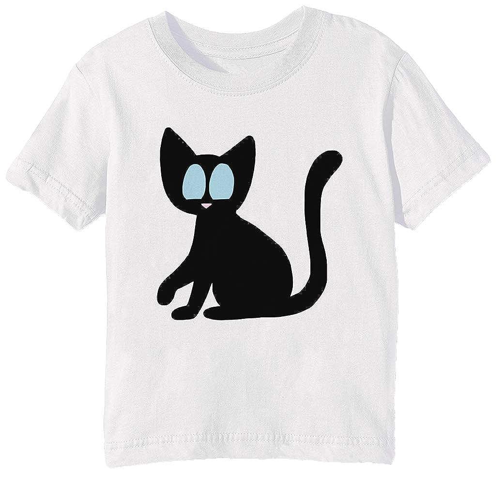 Su - Gato Niños Unisexo Niño Niña Camiseta Cuello Redondo Blanco ...