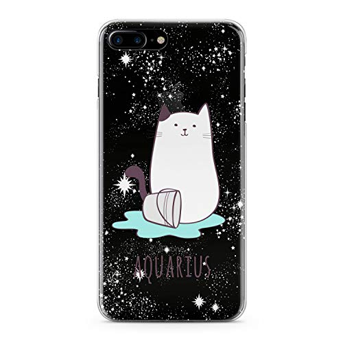 Lex Altern TPU Case for iPhone Apple Xs Max Xr 10 X 8+ 7 6s 6 SE 5s 5 Clear Zodiac Aquarius Sign Cute Cat Watercolor Astrology Phone Cover Constellation Soft Print Protective Girls Women Star Trend -