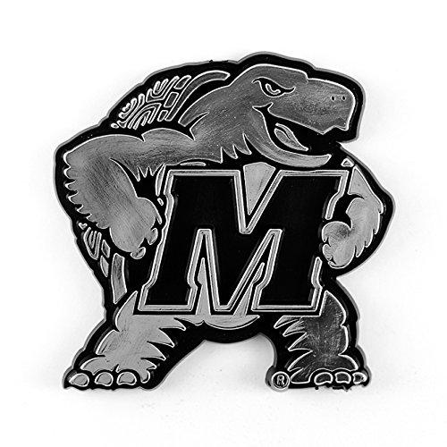Color Chrome Auto Emblem - Maryland Terrapins Terps Raised Silver Chrome Color Auto Emblem University of