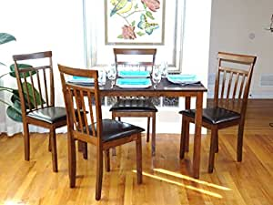5 Pc Dining Room Dinette Kitchen Set Rectangular Table And 4 War