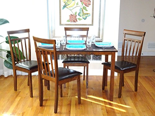 5 Pc Dining Room Dinette Kitchen Set Rectangular Table and 4 Warm Chairs Dark Walnut