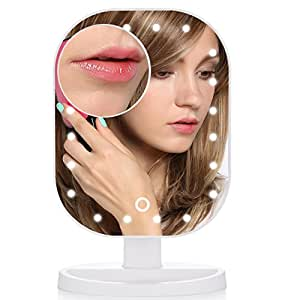 MelodySusie Lighted Makeup Mirror - Touch Screen Dimmable Vanity Mirror with Natural Daylight from 20 LED Lights, Detachable Small 10x Magnification Mirror, Portable Countertop Cosmetic Mirrors