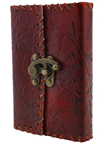 Mothers Day Gift Leather Bound Journal Diary Blank Travel Book Composition Notebook with a Lock For Men Women 100 Unlined Sheets and 200 Pages 6 X 4 Inches - Leather Latch