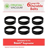 6 Durable Beam Rugmaster Belts Fit Beam Rugmaster, Butler, Serenity, Advocate & Imperial Vacuums, Compare to Part # 155301-002, Designed & Engineered by Think Crucial