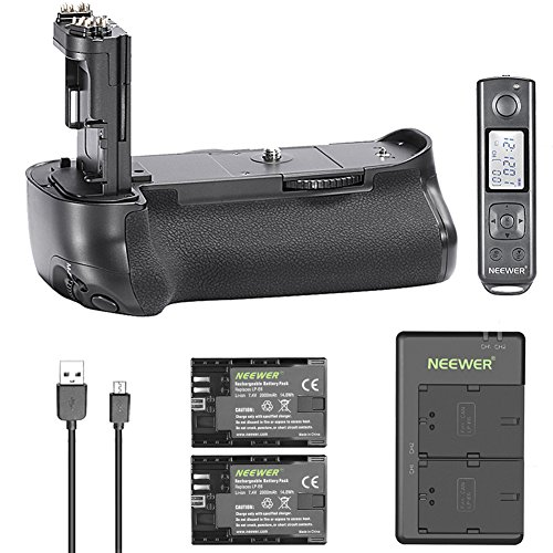 Neewer 2.4G Wireless Remote Control Battery Grip Replacement for Canon BG-E16 for Canon EOS 7D Mark II with 2-Pack 7.4V 2000mAh Canon LP-E6 Replacement Rechargeable Li-ion Battery and Dual Charger by Neewer