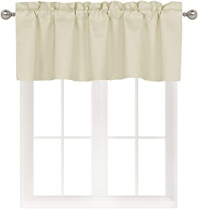 Home Queen Blackout Curtain Valance Window Treatment for Living Room, Short Straight Cafe Drape Valance, Set of 1, 54 X 18 Inch, Beige