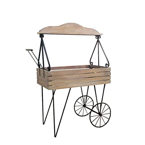Amazon.com : Plant Stand, American Retro Wrought Iron Wood Cart Decorative Frame Green Flower Stand Model Shop Window Display Rack : Garden & Outdoor