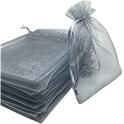 YIJUE 100pcs 4x6 Inches Drawstrings Organza Gift Candy Bags Wedding Favors Bags (Gray)