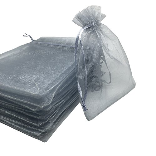 - YIJUE 100pcs 4x6 Inches Drawstrings Organza Gift Candy Bags Wedding Favors Bags (Gray)