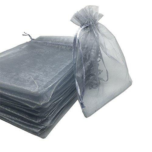 YIJUE 100pcs 4x6 Inches Drawstrings Organza Gift Candy Bags Wedding Favors Bags (Gray)