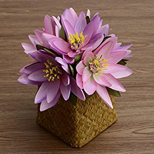 6 Heads per Bounquet Artificial Lotus Artificial Flowers for Home Decor without Vase & Basket, 1 Flower, Pink 23