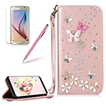 Girlyard For Samsung Galaxy S5 / Samsung Galaxy S5 Neo Diamond Wallet Leather Case Cover Bling Glitter Crystal PU Leather Folio Flip Stand Protective Magnetic Case Cover with Wrist Strap and Card Slots Rose Gold Butterfly Flower