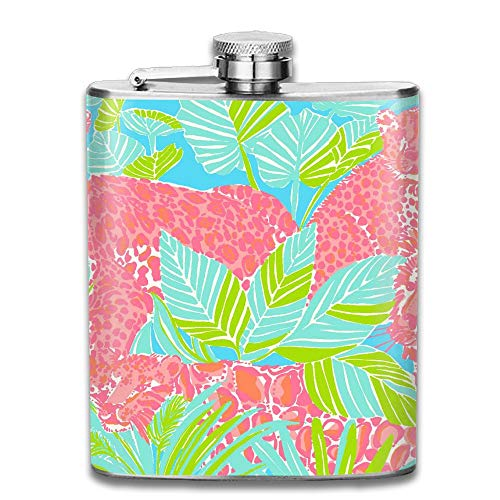 CzxzZd CZZD Tigers Tropical Palm Portable Stainless Steel Flagon Brandy Wine Pot