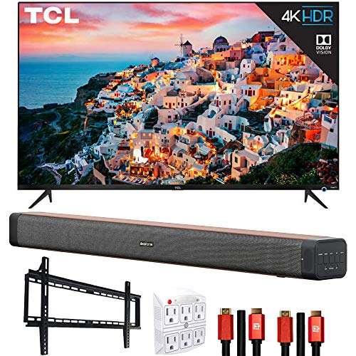 TCL 65S535 65-inch 5-Series 4K UHD Dolby Vision HDR Roku Smart TV Bundle with Deco Home 60W Soundbar with Dual Subwoofers, Wall Mount, 2X Deco Gear HDMI Cable, 6-Outlet Surge Adapter with Night Light