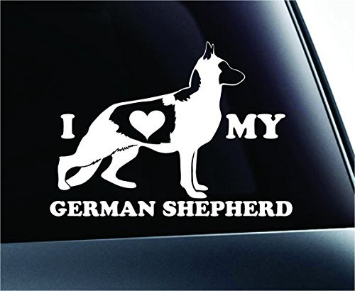 I Love My German Shepherd Dog Symbol Decal Paw Print Dog Puppy Pet Family Breed Love Car Truck Sticker Window (White), Decal Sticker Vinyl Car Home Truck Window Laptop