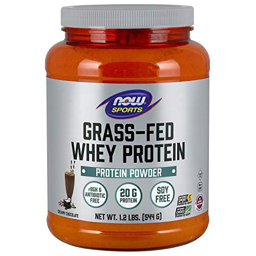 (NOW Sports Nutrition, Grass-fed Whey Protein Concentrate, Creamy Chocolate Powder, 1.2-Pound)
