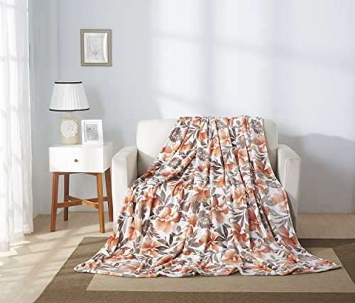 All American Collection Super Soft Printed Throw Blanket (Throw Size, Orange -