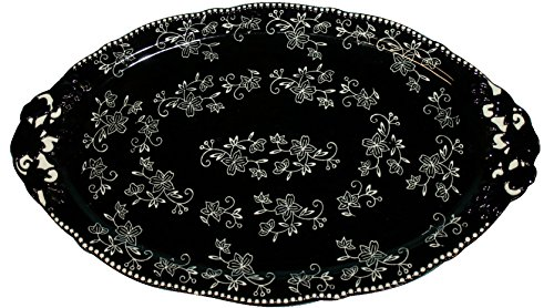 Temp-tations Platter Serving Tray 18 inch x 11 inch- Floral Lace Black