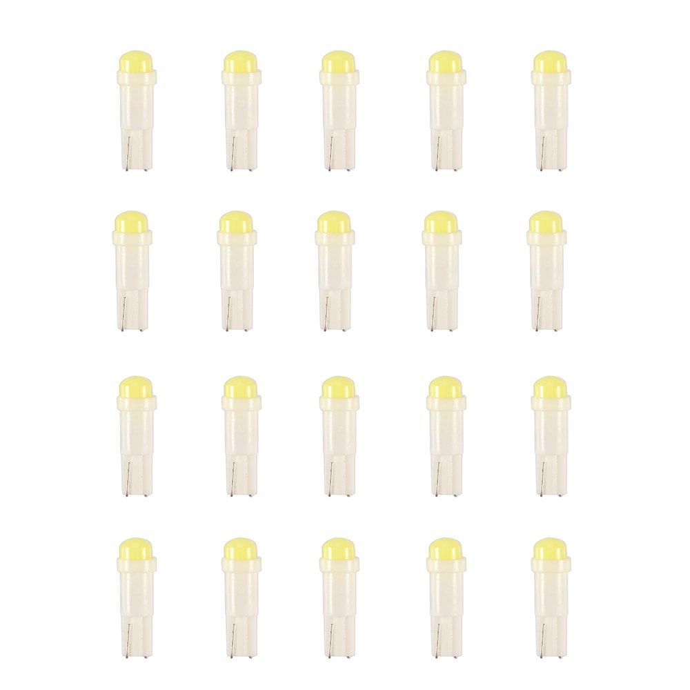 Winbang luce cruscotto, indicatore 20PCS bianco auto Mini lampadine lampade T5 COB SMD 5050 LED luce del cruscotto strumentazione per indicatore tachimetro contachilometri contagiri gauge cluster Light