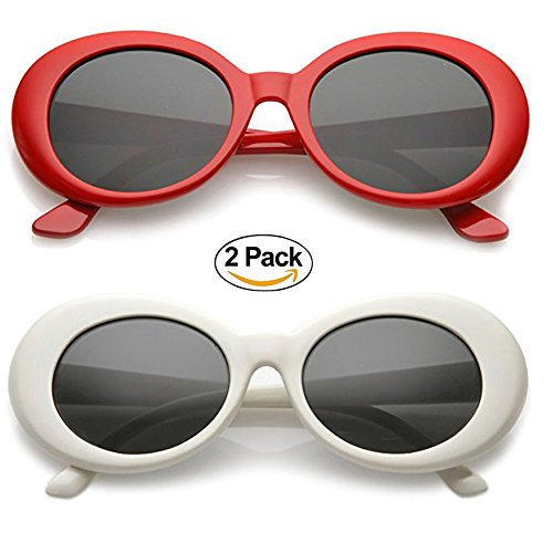Alien Oval Sunglasses Classic Colorful Neutral Colored Lens 2PC (Red/White, - Alien White Glasses