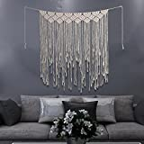 40''Wx45''L Macrame Wall Hanging Tapestry,Macrame Door Hanging,Room Divider,Macrame Curtains,Window Curtain,Door Curtains,Wedding Backdrop Boho Wall Art (Beige Pattern-1)
