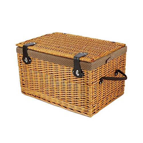 Car Trunk Organizer Storage Box, Wicker Woven Natural Color Storage Bin, Multifunction Picnic Box Sundries Storage Box