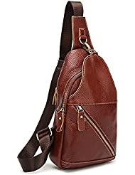 SIFINI Fashion Genuine Leather Small Body Sling Bag Travel Hiking Backpack
