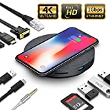 2019 Version USB C Hub with Wireless Charger and Fan, 11 in 1 USB C Adapter with Ethernet, 4K USB C to HDMI, VGA, 3 USB3.0 PD, SD TF Card Reader, Audio/Mic, for MacBook Pro and Other Type C Laptops