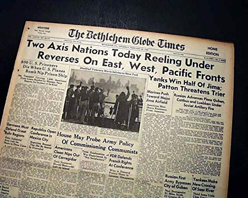 - IWO JIMA U.S. Marines Fighting on Mount Suribachi 1945 World War II Newspaper THE BETHLEHEM GLOBE-TIMES, Pennsylvania, February 22, 1945.