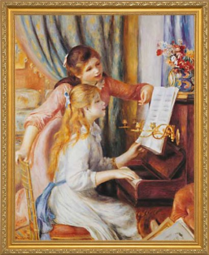 Gold Traditional Frame - Two Girls at the Piano by Pierre-Auguste Renoir. Framed Art Print Poster. Custom Made Real Wood Traditional Gold Frame (18 1/8 x 22 1/8)