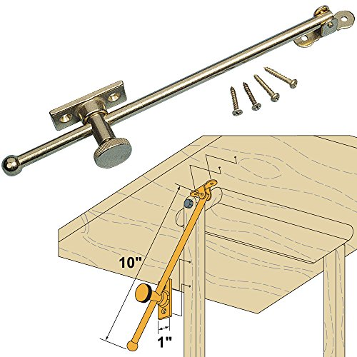 Woodworker's Supply, Inc. 800539, 4-pack, Hardware, Closing Mechanisms, Friction Lid Supports, Hd Locking Lid And Table Support-Solid Brass (Solid Lid Brass)