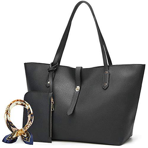 Women Leather Handbag Tote Bag Hobo Shoulder Bags Soft Satchel Bags For Lady,Designer Cross Body Bucket Bag with Scarf (4-black)
