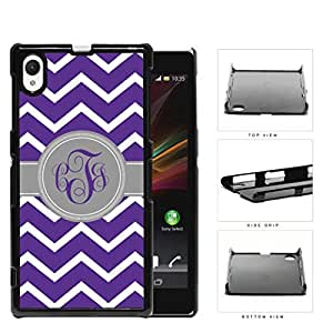 Purple And White Chevron With Gray Monogram (Custom Initials) Hard Plastic Snap On Cell Phone Case Sony Xperia Z1 wangjiang maoyi