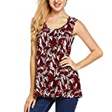 Fashion Womens Tank Tops Sexy O-Neck Pleated Print Sleeveless Vest Casual Loose Blouse (L, Red)