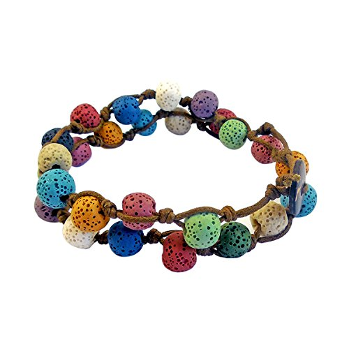 NewStar Lava Diffuser Women's Wrap Bracelets Lava Lock Mala Rainbow Diffuser Bracelets for Women