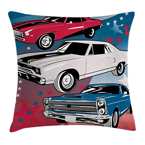 "Ambesonne Cars Throw Pillow Cushion Cover, Pop Art Group of Nostalgic American Muscle Cars with Stars Antique Print, Decorative Square Accent Pillow Case, 20"" X 20"", Beige Blue"