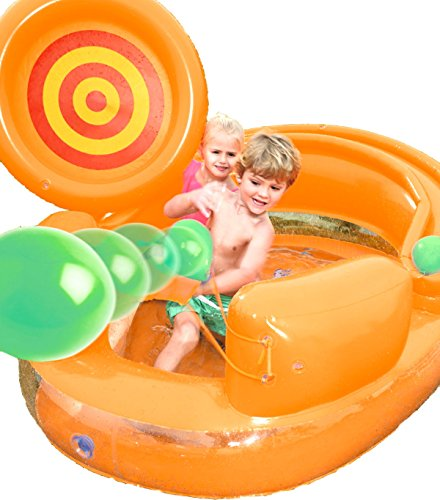 Cannon Catapult Play Pool Center. This Kiddie Blow Up Above Ground Inflatable Swimming Pool Is Great For Toddlers, Children To Have Outdoor Water Fun With Slide, Toys, Floats. (Orange) ()