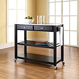 Crosley Furniture Stainless Steel Top Kitchen Cart/Island with Optional Stool Storage in Black Finish
