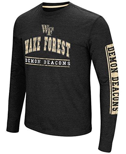 Wake Forest Demon Deacons Men's Black Heather Sky Box College Long Sleeve T Shirt (X-Large)