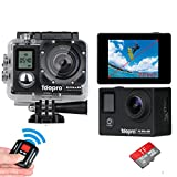 Toopro 4K Sport Action Camera Ultra HD 16MP WIFI with Remote 173° Wide Angle Dual Screen DV Camcorder, 1 Micro 32G SD Card / 2 Rechargeable Batteries / and Full Accessories Kits