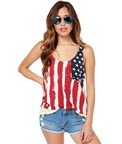 Niseng Damen Lässige Chiffon Rundkragen Ohne Arm Amerikanische Flagge Druck Basic Shirts Blusen Tank Top Mehrfarbig XL