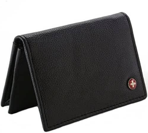 Alpine Swiss RFID Blocking Mens Leather Expandable Business Card Case Wallet