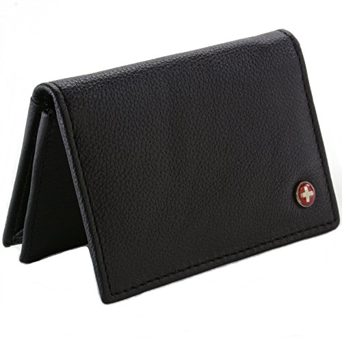 Leather business card holder with window amazon alpine swiss classic leather business card wallet with id window expandable pocket thin slim billfold credit card case reheart Images