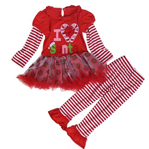Funny Tiger Woods Costume (AMA(TM) Christmas Child Girl Stripe Long Sleeve Tulle Tutu Dress+Long Pant (3T, Red))